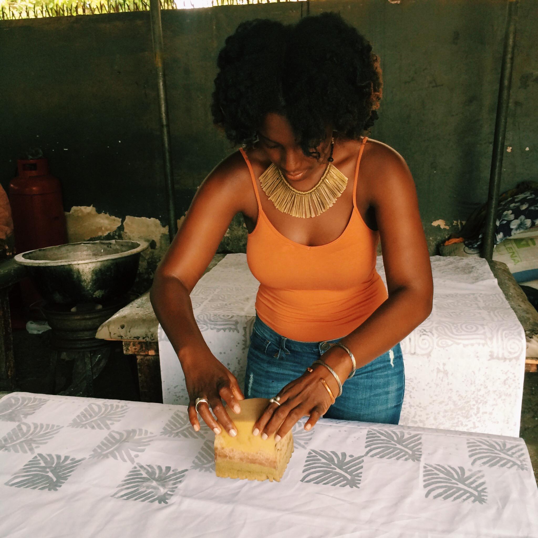 Maame mastering the art of Batik making